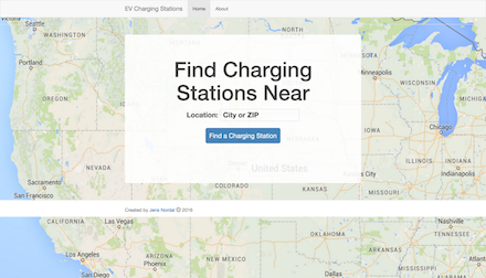 Screenshot of charging stations app
