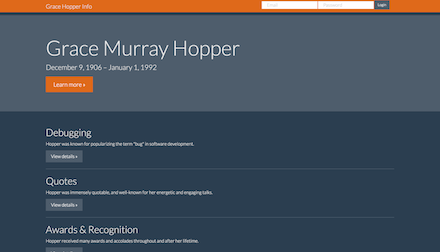 Screenshot of Grace Murray Hopper informational website