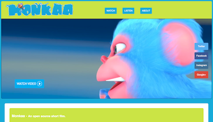 Screenshot of Monkaa the monkey website