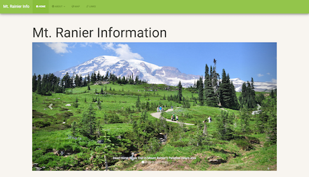 Screenshot of Mt. Rainier informational website