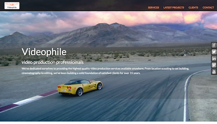 Screenshot of video product company website